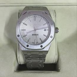 Descuento esfera blanca para hombre de los relojes automáticos Royal Oak Offshore Mens Watch Dial Blanco Transparente Original Original Cierre Movimiento Automático Mecánico Hombres Relojes De Acero Inoxidable