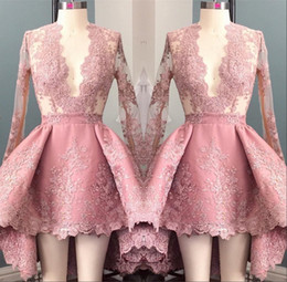 Hi Lo Pink Long Sleeves Appliques Homecoming Cocktail Dress 2017 Deep V-Neck Elegant 8th Grade Prom Party Dresses