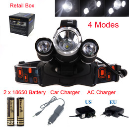 Wholesale 8000 Lumens Headlight LED Cree XM L T6 R5 Head Lamp High Power LED Headlamp battery EU US AU UK Charger car charger