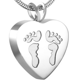IJD8006 Human Footprint in Heart CREMATION NECKLACE Women Charm,High Quality Stainless Steel Memorial Urn Keepsake Holder Ashes Jewelry