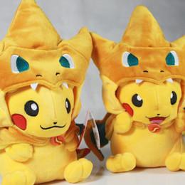 Mega tv en venta-Pikachu Cosplay Mega Charizard juguetes de peluche Kawaii Pikachu juguetes de peluche suave animales de peluche muñeca niños juguetes 25 cm