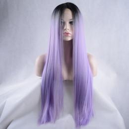 18 pouces perruque synthétique droite à vendre-Ombre Perruque Lady Mode Perruques Synthétiques Femmes Deux tons Noir Pour Pourpre Cheveux Lisses Perruques Résistant À La Chaleur 12-26 Pouces