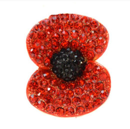 "1.8"" Gold Tone Red Enamel and Rhinestone Crystal Poppy Flower Brooch Jewelry Remembrance Day Gift"