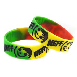 "Wholesale 50PCS Lot NEFF Smile Face Silicon Bracelet 1"" Wide Band, Perfect To Use In Any Benefits Gift"
