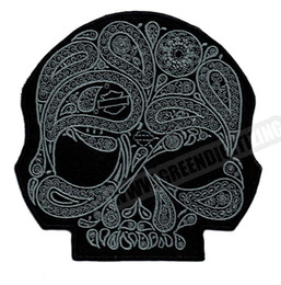 Cool Skull Flower Silver Motorcycle Patches For Vest Jacket Embroidery Punk Biker Patch DIY Cloth Patch Applique Badge Free Shipping