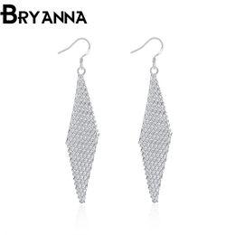 Bryanna 925 sterling silver dangling earrings for women Fashion Jewelry Wholesale Wedding Gifts aretes tassel drop earrings E2061