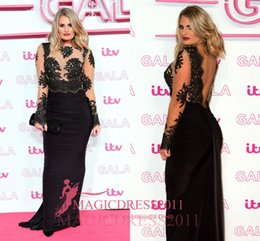 Wholesale Elegant Danielle Armstrong Prom Evening Dresses ITV Gala Special Occasion Dress Mermaid Illusion Long Sleeves Formal Celebrity Gowns