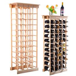Bastidores de almacenamiento de vino en venta-Nueva 44 botellas de vino de madera de almacenamiento en rack estantes de visualización Cocina Decoración Natural