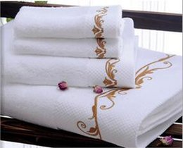 Wholesale Five star hotel Beauty Salon Club SPA Imported cotton Satin striped Platinum wire Embroidered Bath hand and face towel pieces set colors