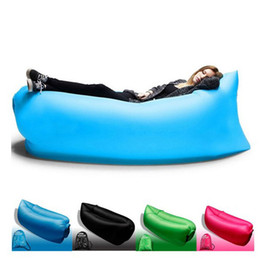 Wholesale Fast Inflatable Air Sleeping Bag Portable Outdoor Lazy Pads Lounger Air Camping Sofa Beach Polyester Fabric Sleep Bed with Pocket PX S22