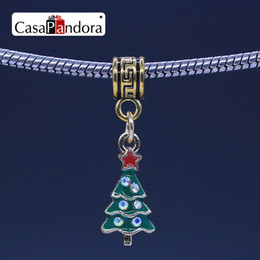 CasaPandora Copper Christmas Tree Pendant Fit Bracelet Charm DIY Enamel Bead Jewelry Making Pingente Berloque Wholesale Free Shipping