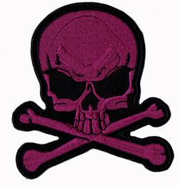 Fashion Skull Bones Embroidered Patch Iron On Jacket Shirts Hats Patch Supplier Punk Emblem Purple 9cm Badge