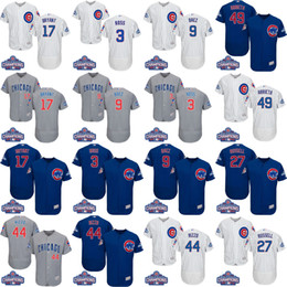 Wholesale 2016 World Series Champions Patch Chicago Cubs Kris Bryant Anthony Rizzo Javier Baez Ben Zobrist David Ross Baseball Jerseys