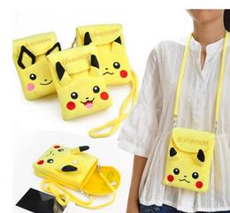À double bourse de portefeuille en Ligne-Mini sac à dos Pikachu Coin Purse Plush Sac à bandoulière à double couche pour téléphone Sac à main pour enfants Cartoon Mini Eevee Porte-clés