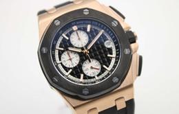 Regarder bracelet en caoutchouc noir à vendre-Vente en gros - montre de marque de luxe hommes royla chêne offshore montre sports quartz chronographe noir caoutchouc Bracelet montre en or hommes montres montre