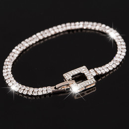 Rose gold Classic Crystal Pave Link Bracelet Bangle Fashion Full Rhinestone Jewelry for Women Free Shipping B040