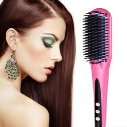 2017 Magic ceramic coating electric hair straightener brush straightening hair brush