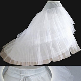 Free shipping Petticoats with Train 2017 Newest Gorgeous White Wedding Gown Crinoline Underskirt 3-Layers Bridal Accessories