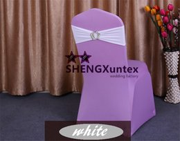 White Color Lycra Spandex Chair Sash \ Chair Band With King Crown Buckle For Many Kinds Of Chair Cover