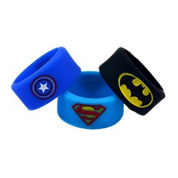 Wholesale Shipping 120PCS Lot Batman, Superman and Captain America Silicone Thumb Rings, Ink-Filled Colour Fashion Finger Rings