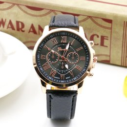 Geneva Roman engraved on holiday three eye six stitches ladies fashion Leather strap watch students quartz watch