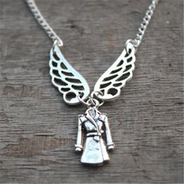 20pcs Supernatural Inspired Castiel Necklace, Angel in a Trenchcoat jewelry silver antique jewelry