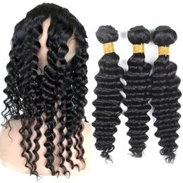 Pre-Plucked 360 Lace Frontal Bundles Deep Wave Unprocessed Brazilian Virgin Human Hair Weaves With 360 Closure Baby Hair Natural Black Color