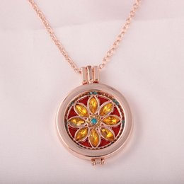 Wholesale Cheap Diffuser - Rose Gold Necklaces Statement Necklaces Stainless Steel Fashion Jewelry Cheap Diffuser Crystal Loket Floating Necklaces Rose Gold PlatedX641