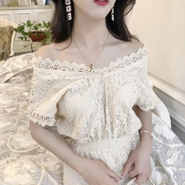 2017 summer Korean vintage style all-match embroidery slash neck floral hollow out peplum T-shirt 80% cotton two colors