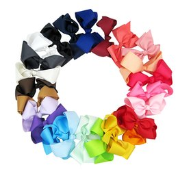 28 Color 6 inch Bowknot Hairbands Solid Hair Bows Kid Girls Headwear Baby Girls Hair Accessories With Alligator Clips 50 Pcs Lot
