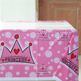 Wholesale Crown Shower Favors - Wholesale-birthday home decor plastic tablecover map princess girls 1st birthday crown printed party table cloth baby shower favors 1pc