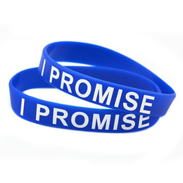 Wholesale 100PCS Lot Printed I PROMISE Silicone Wristband Bracelet Perfect To Use In Any Benefits Gift