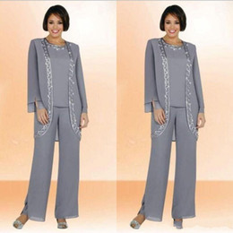 Modest 2017 Chiffon Jewel Long Grey Mother Of The Bride Pant Suits With Long Sleeve Jacket Cheap Embroidery Formal Suits Custom Made