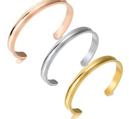 Wholesale New Hair Tie Open Bangles Bland Cuff Stainless Steel Brushed Edges for Women Girls Bracelet Bangle Amazon Hot Sale