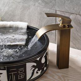 Deck Mounted Antique Brass Basin Faucet Spout Sink Mixer Single Handle Tap