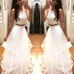 2018 Sexy White Two Pieces Ball Gown Prom Dresses Halter Neck Crystal Top Tiered Skirts Ruffles Long Evening Gowns With Beaded Peplum BA5203