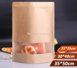 nice quality big size Stand UP Kraft Paper Bag with Visaul Window, Ziplock Packing Bag for Snack Candy Cookie free shipping by DHL 50pcs lot