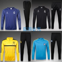 Wholesale best quality yellow black Dortmund jerseys Real Madrid Men Training suit city football Tracksuits shirt