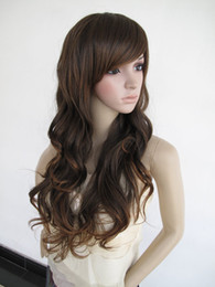 Harajuku Unisex brown Mix Synthetic Long Wavy Hair Ombre Cosplay Curly Wig Perruque wigs for women