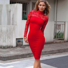Compra On-line Korean women s dress-Moda Nova Mulheres Vestido Preto Moda Primavera Outono Renda Vestido Plus Size Long Sleeve Vestido Coreano