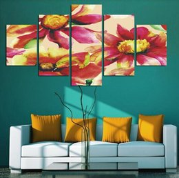 5 panel sunflower oil painting picture printed on canvas sitting room home decor wall art