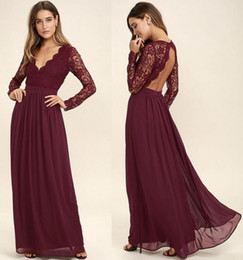 2018 Burgundy Lace Bodice Chiffon Skirt Burgundy Bridesmaid Dresses Illusion Long Sleeves Junior Wedding Party Bridesmaids Dress Cheap