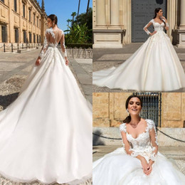 New Sheer Long Sleeves Lace Applique A Line Plus Size Wedding Dresses Court Train Bridal Gowns Custom Made