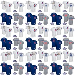 Wholesale 2017 Gold Program World Series Champions Patch Chicago Cubs Kris Bryant Javier Baez Anthony Rizzo Zobrist baseball jersey