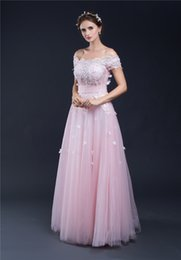 2018 Sexy Lace Appliques Prom Dresses Beads Tulle Big Girls Pageant Evening Party Celebrity Catwalk Off Shoulder Lady Bridesmaid Bride Gowns