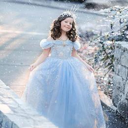 Cenicienta niños vestido del partido en venta-Vestidos de Cinderella Moda Cosplay Gril Ropa de los niños Princesa Formal Vestido Vestido de noche de los niños de la tarde Vestido de Gril de la flor Vestido de bola de Forzen