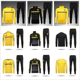 Wholesale 2016 Borussia Dortmund Tracksuit yellow Champions League Version Training Jogging Soccer Sets Football Suits Half Pull Training Sweater