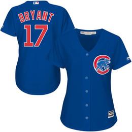 Majestic Chicago Cubs Kris Bryant #17 Women's Cool Base Cool Base Player Jersey - Royal Baseball Jerseys free shipping