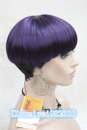 100% Brand New High Quality Fashion Picture wig Fashion Lady Women Purple short Hair Full Wig Mushroom head Bob Wig