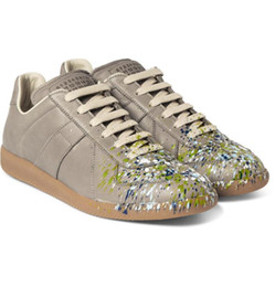 Wholesale Promotions Margiela Sneakers Spray Paint Leather Maison Martin Margiela Man and Womens Hand made Low Shoes